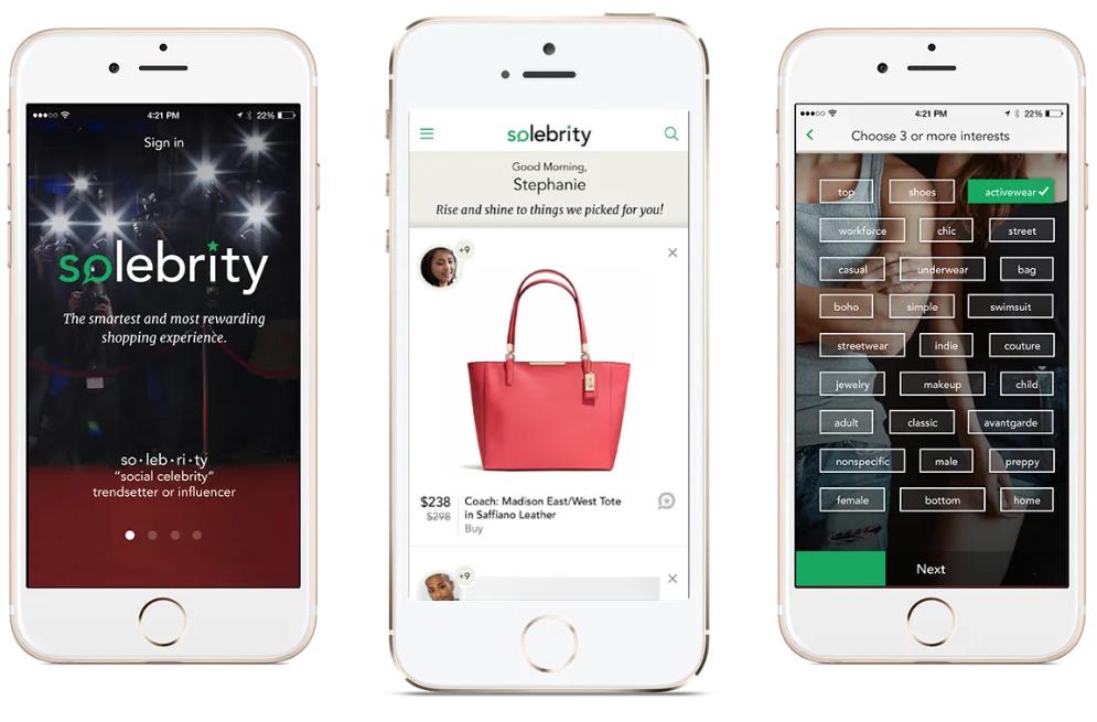 Solebrity App Screens